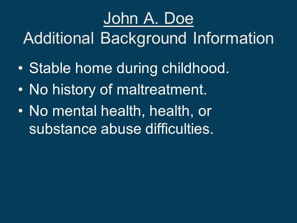 John A. Doe Additional Background Information Stable home during childhood.