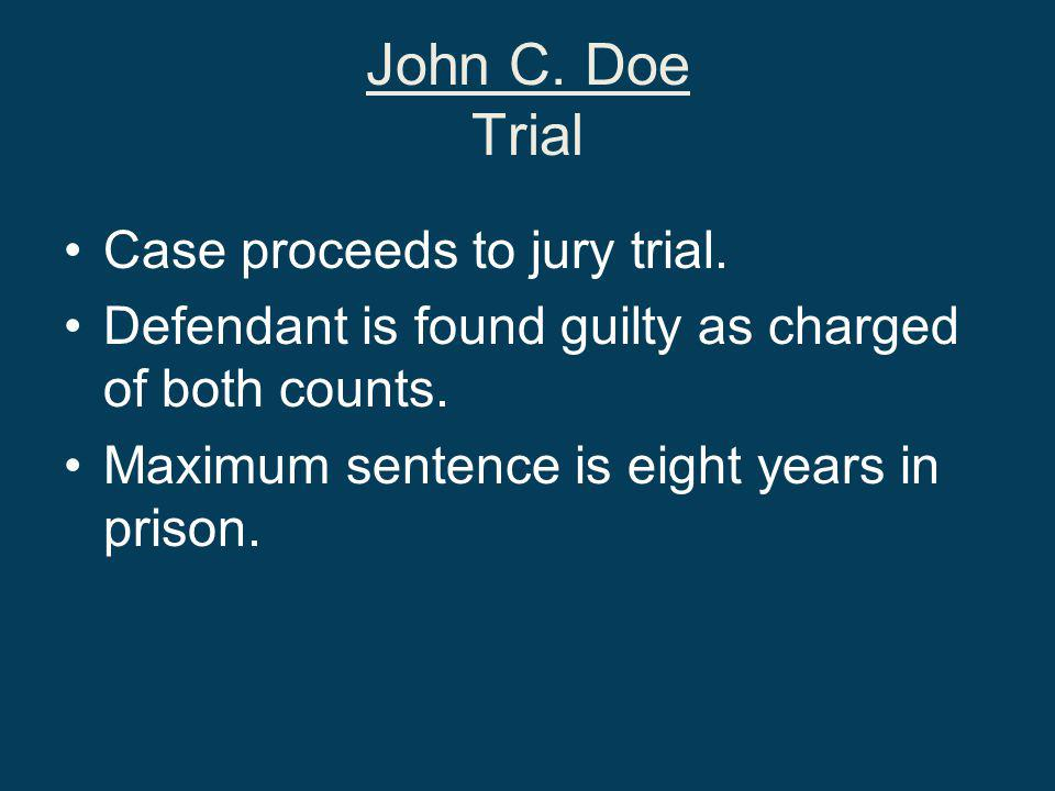 John C. Doe Trial Case proceeds to jury trial.