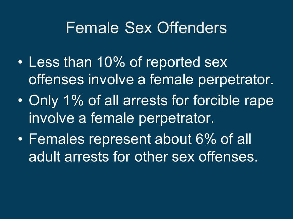 Female Sex Offenders Less than 10% of reported sex offenses involve a female perpetrator.