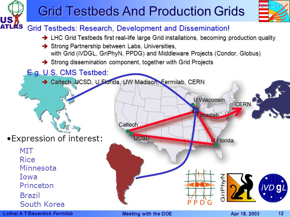 Apr 18, 2003 Meeting with the DOE 12 Lothar A T Bauerdick Fermilab MIT Rice Minnesota Iowa Princeton Expression of interest: Grid Testbeds And Production Grids Brazil South Korea Grid Testbeds: Research, Development and Dissemination.