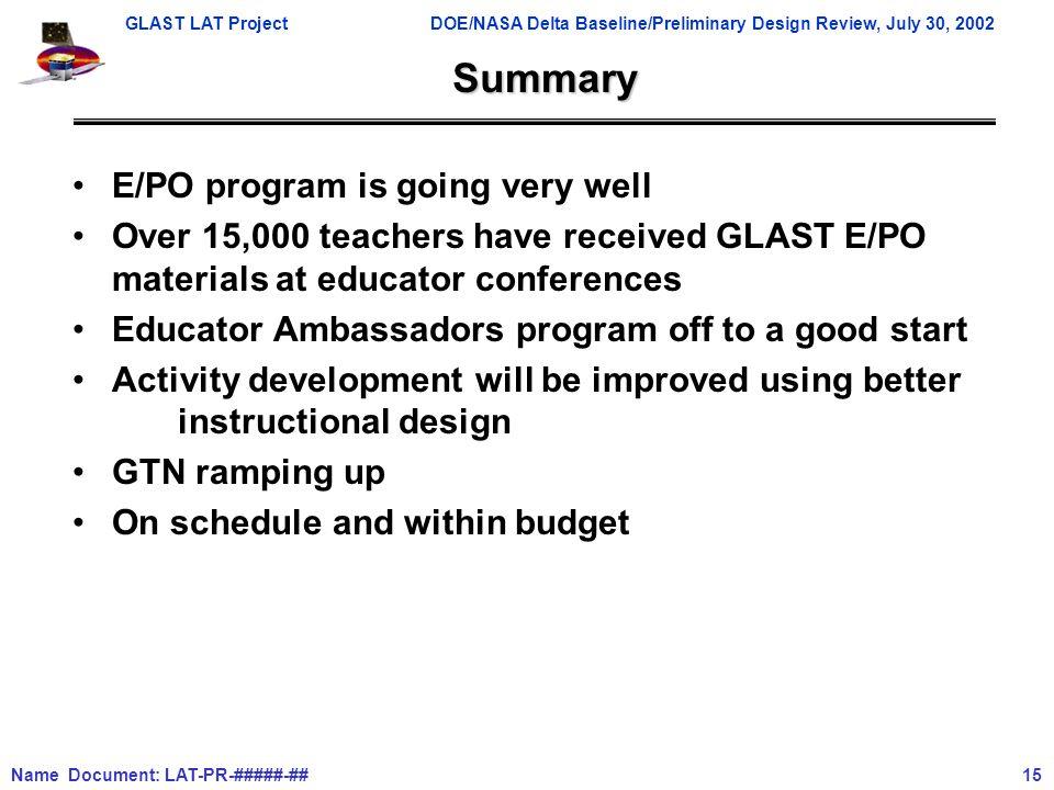 GLAST LAT ProjectDOE/NASA Delta Baseline/Preliminary Design Review, July 30, 2002 Name Document: LAT-PR-#####-## 15 Summary E/PO program is going very