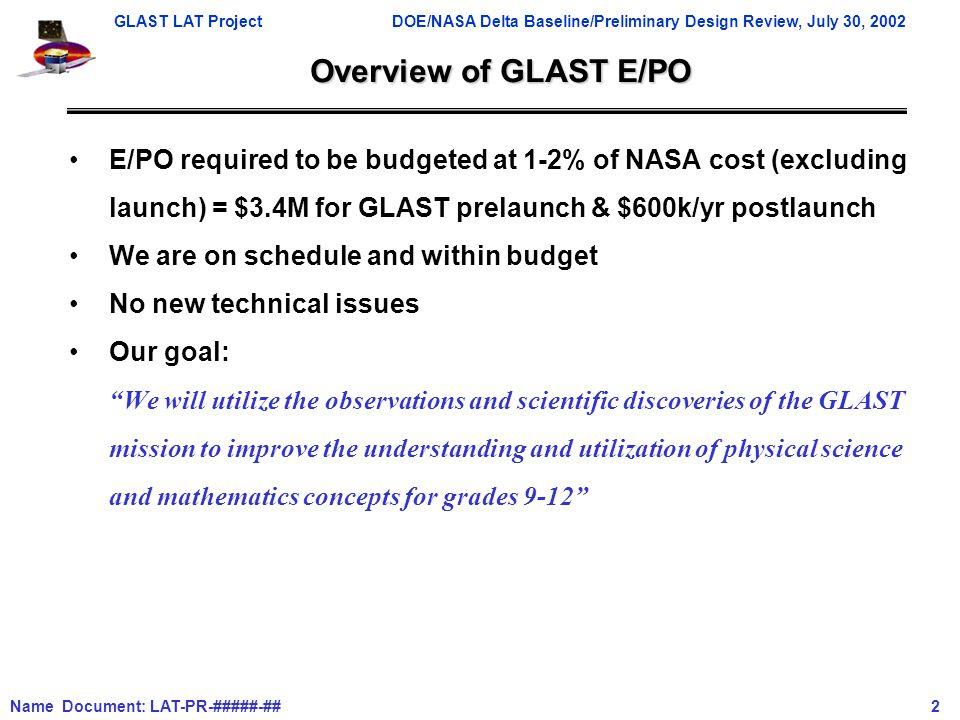 GLAST LAT ProjectDOE/NASA Delta Baseline/Preliminary Design Review, July 30, 2002 Name Document: LAT-PR-#####-## 2 Overview of GLAST E/PO E/PO require