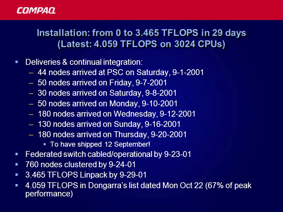 Installation: from 0 to 3.465 TFLOPS in 29 days (Latest: 4.059 TFLOPS on 3024 CPUs)  Deliveries & continual integration: –44 nodes arrived at PSC on