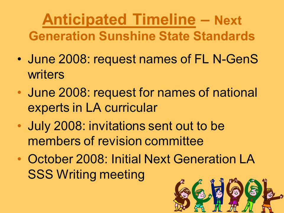 5 Anticipated Timeline – Next Generation Sunshine State Standards June 2008: request names of FL N-GenS writers June 2008: request for names of national experts in LA curricular July 2008: invitations sent out to be members of revision committee October 2008: Initial Next Generation LA SSS Writing meeting