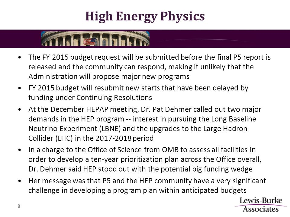 High Energy Physics The FY 2015 budget request will be submitted before the final P5 report is released and the community can respond, making it unlikely that the Administration will propose major new programs FY 2015 budget will resubmit new starts that have been delayed by funding under Continuing Resolutions At the December HEPAP meeting, Dr.