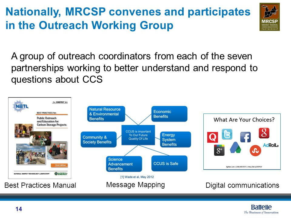 Nationally, MRCSP convenes and participates in the Outreach Working Group A group of outreach coordinators from each of the seven partnerships working to better understand and respond to questions about CCS 14 Message Mapping Digital communicationsBest Practices Manual