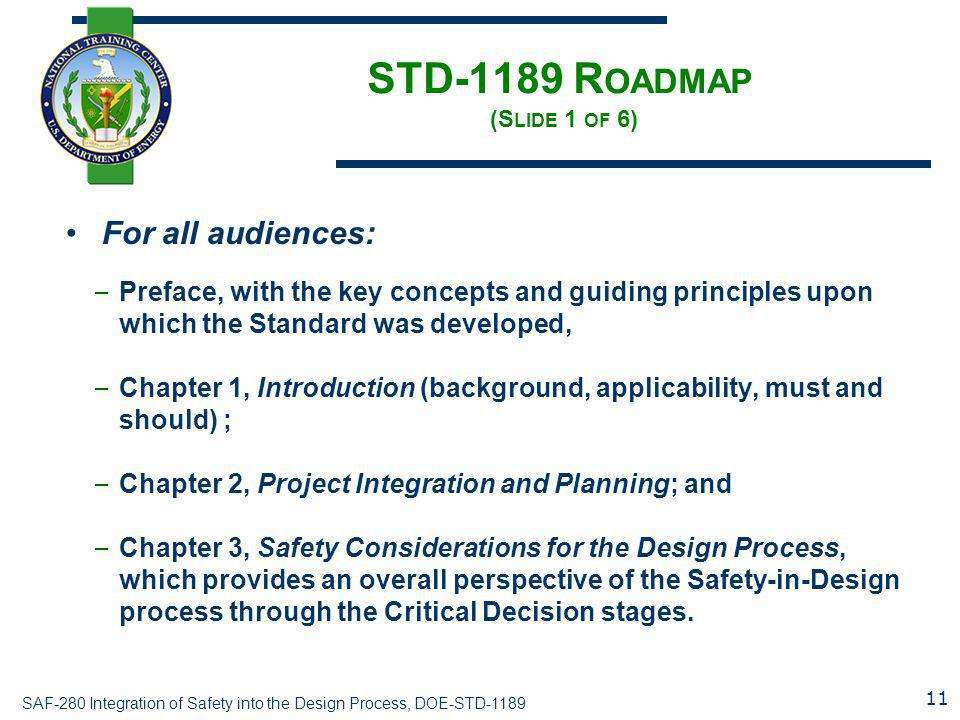 SAF-280 Integration of Safety into the Design Process, DOE-STD-1189 STD-1189 R OADMAP (S LIDE 1 OF 6) For all audiences: – Preface, with the key conce