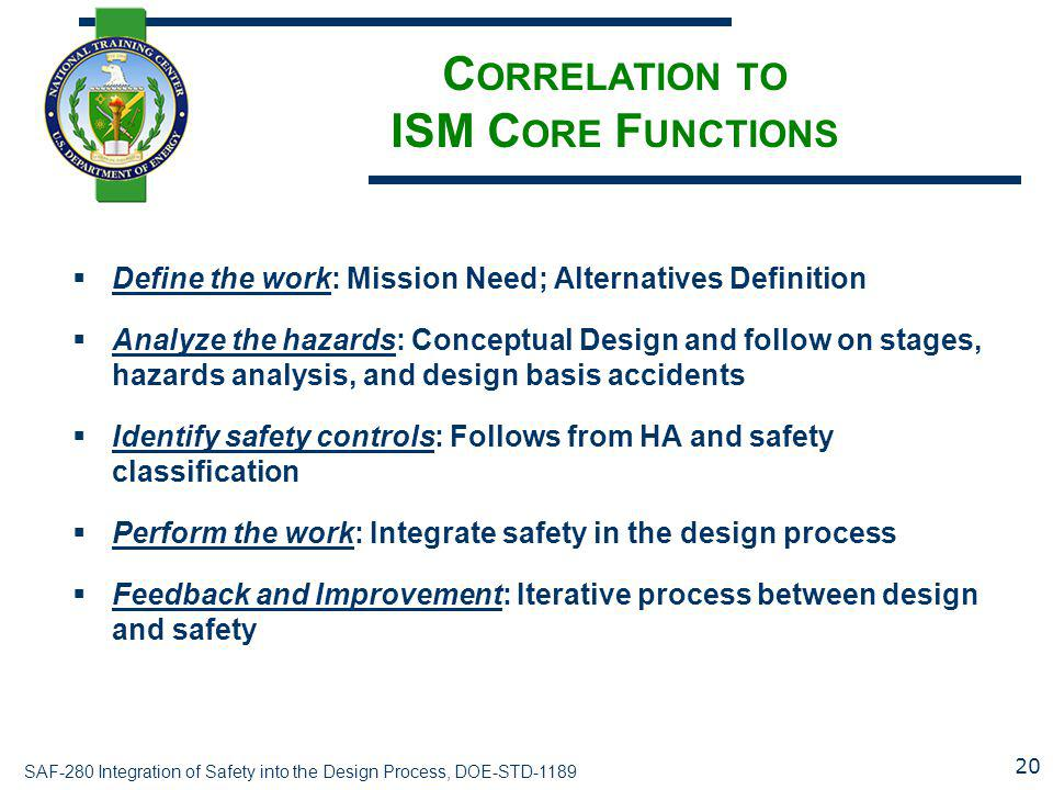 SAF-280 Integration of Safety into the Design Process, DOE-STD-1189 C ORRELATION TO ISM C ORE F UNCTIONS  Define the work: Mission Need; Alternatives Definition  Analyze the hazards: Conceptual Design and follow on stages, hazards analysis, and design basis accidents  Identify safety controls: Follows from HA and safety classification  Perform the work: Integrate safety in the design process  Feedback and Improvement: Iterative process between design and safety 20