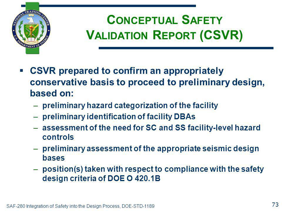SAF-280 Integration of Safety into the Design Process, DOE-STD-1189 C ONCEPTUAL S AFETY V ALIDATION R EPORT (CSVR)  CSVR prepared to confirm an appro