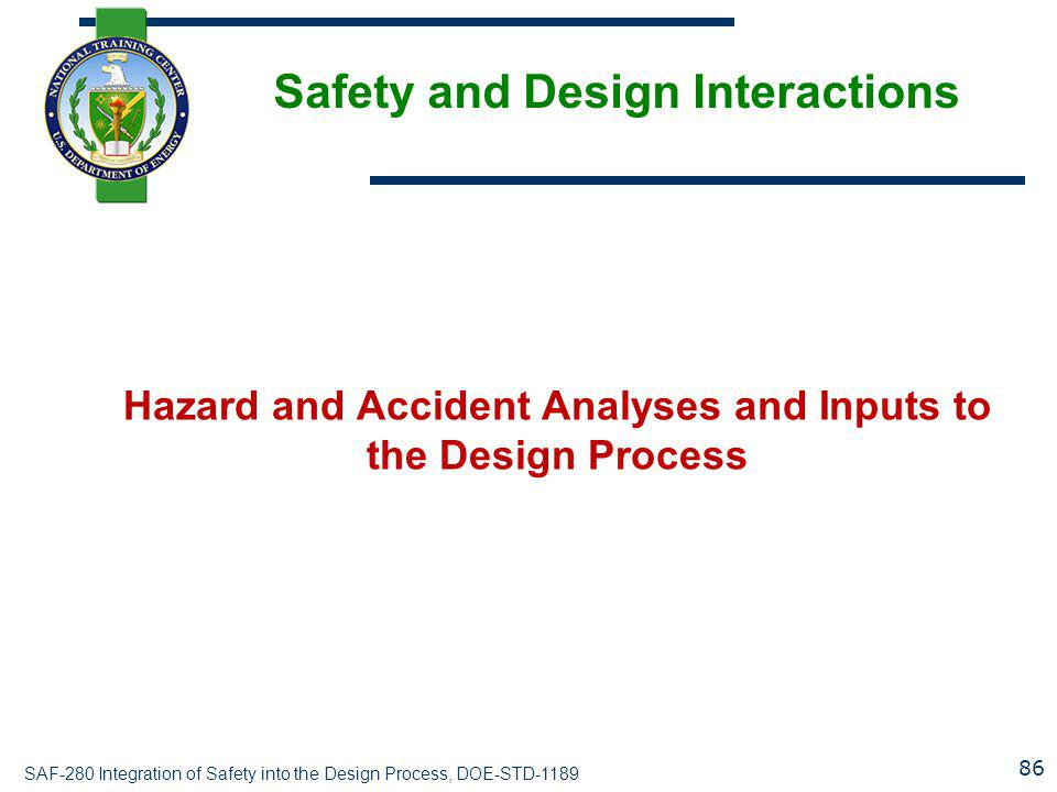 SAF-280 Integration of Safety into the Design Process, DOE-STD-1189 Safety and Design Interactions Hazard and Accident Analyses and Inputs to the Desi