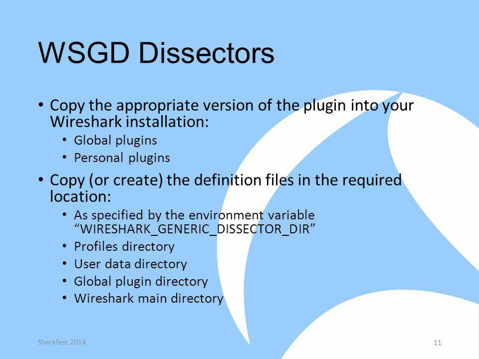 WSGD Dissectors Copy the appropriate version of the plugin into your Wireshark installation: Global plugins Personal plugins Copy (or create) the defi