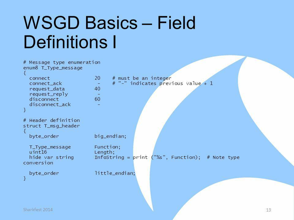WSGD Basics – Field Definitions I # Message type enumeration enum8 T_Type_message { connect 20 # must be an integer connect_ack - #