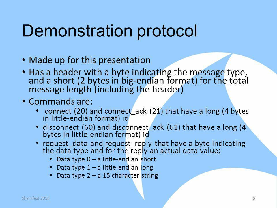 Demonstration protocol Made up for this presentation Has a header with a byte indicating the message type, and a short (2 bytes in big-endian format)