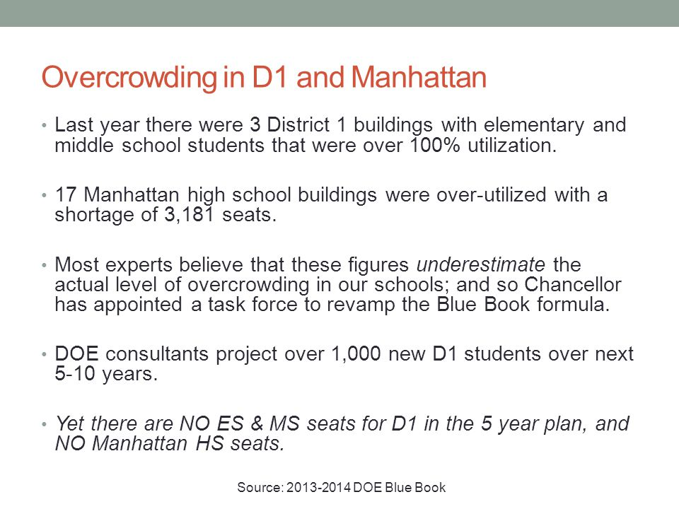 Overcrowding in D1 and Manhattan Last year there were 3 District 1 buildings with elementary and middle school students that were over 100% utilization.