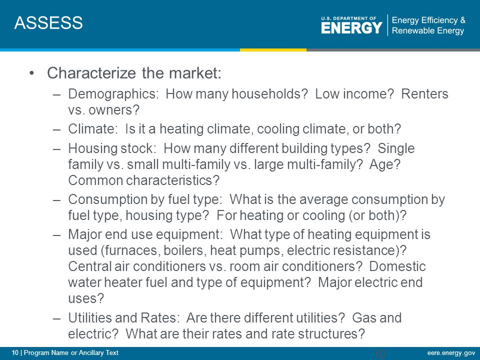 10 | Program Name or Ancillary Texteere.energy.gov ASSESS Characterize the market: –Demographics: How many households.