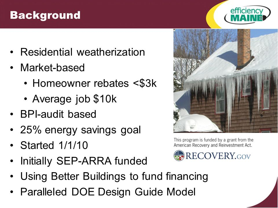Background Residential weatherization Market-based Homeowner rebates <$3k Average job $10k BPI-audit based 25% energy savings goal Started 1/1/10 Initially SEP-ARRA funded Using Better Buildings to fund financing Paralleled DOE Design Guide Model
