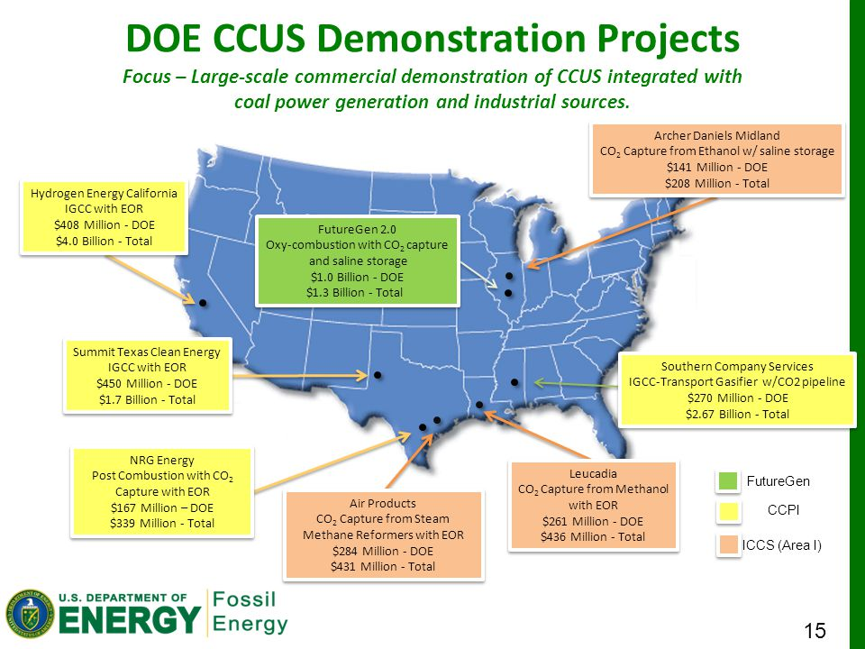 15 DOE CCUS Demonstration Projects CCPI FutureGen ICCS (Area I) Hydrogen Energy California IGCC with EOR $408 Million - DOE $4.0 Billion - Total Hydrogen Energy California IGCC with EOR $408 Million - DOE $4.0 Billion - Total Summit Texas Clean Energy IGCC with EOR $450 Million - DOE $1.7 Billion - Total Summit Texas Clean Energy IGCC with EOR $450 Million - DOE $1.7 Billion - Total NRG Energy Post Combustion with CO 2 Capture with EOR $167 Million – DOE $339 Million - Total NRG Energy Post Combustion with CO 2 Capture with EOR $167 Million – DOE $339 Million - Total Air Products CO 2 Capture from Steam Methane Reformers with EOR $284 Million - DOE $431 Million - Total Air Products CO 2 Capture from Steam Methane Reformers with EOR $284 Million - DOE $431 Million - Total Leucadia CO 2 Capture from Methanol with EOR $261 Million - DOE $436 Million - Total Leucadia CO 2 Capture from Methanol with EOR $261 Million - DOE $436 Million - Total Archer Daniels Midland CO 2 Capture from Ethanol w/ saline storage $141 Million - DOE $208 Million - Total Archer Daniels Midland CO 2 Capture from Ethanol w/ saline storage $141 Million - DOE $208 Million - Total FutureGen 2.0 Oxy-combustion with CO 2 capture and saline storage $1.0 Billion - DOE $1.3 Billion - Total FutureGen 2.0 Oxy-combustion with CO 2 capture and saline storage $1.0 Billion - DOE $1.3 Billion - Total Southern Company Services IGCC-Transport Gasifier w/CO2 pipeline $270 Million - DOE $2.67 Billion - Total Southern Company Services IGCC-Transport Gasifier w/CO2 pipeline $270 Million - DOE $2.67 Billion - Total Focus – Large-scale commercial demonstration of CCUS integrated with coal power generation and industrial sources.