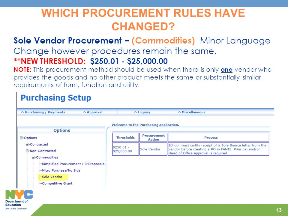 13 Sole Vendor Procurement – (Commodities) Minor Language Change however procedures remain the same. **NEW THRESHOLD: $250.01 - $25,000.00 NOTE: This