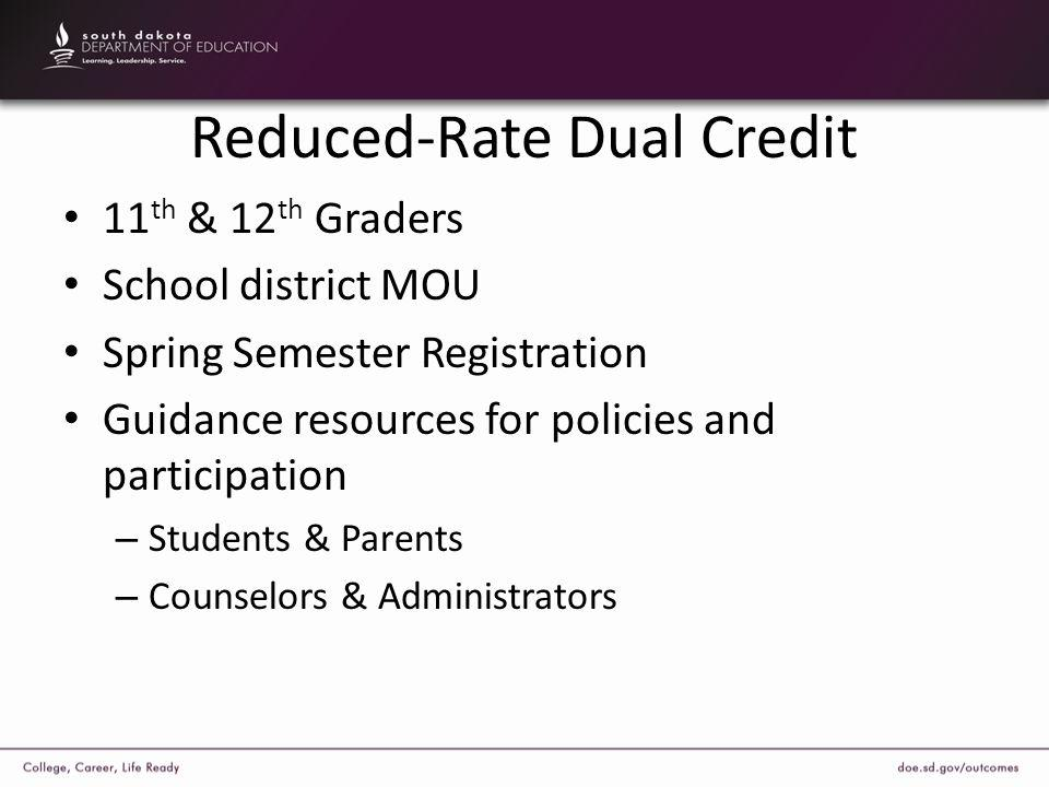 Reduced-Rate Dual Credit 11 th & 12 th Graders School district MOU Spring Semester Registration Guidance resources for policies and participation – St