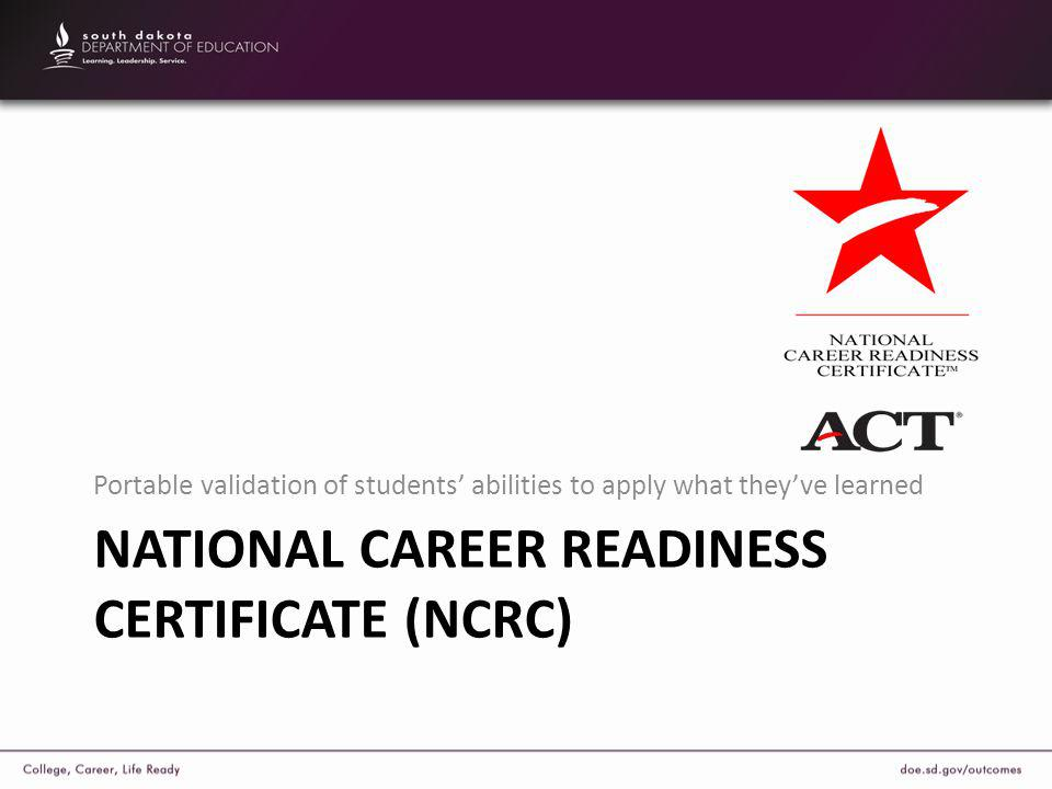 NATIONAL CAREER READINESS CERTIFICATE (NCRC) Portable validation of students' abilities to apply what they've learned