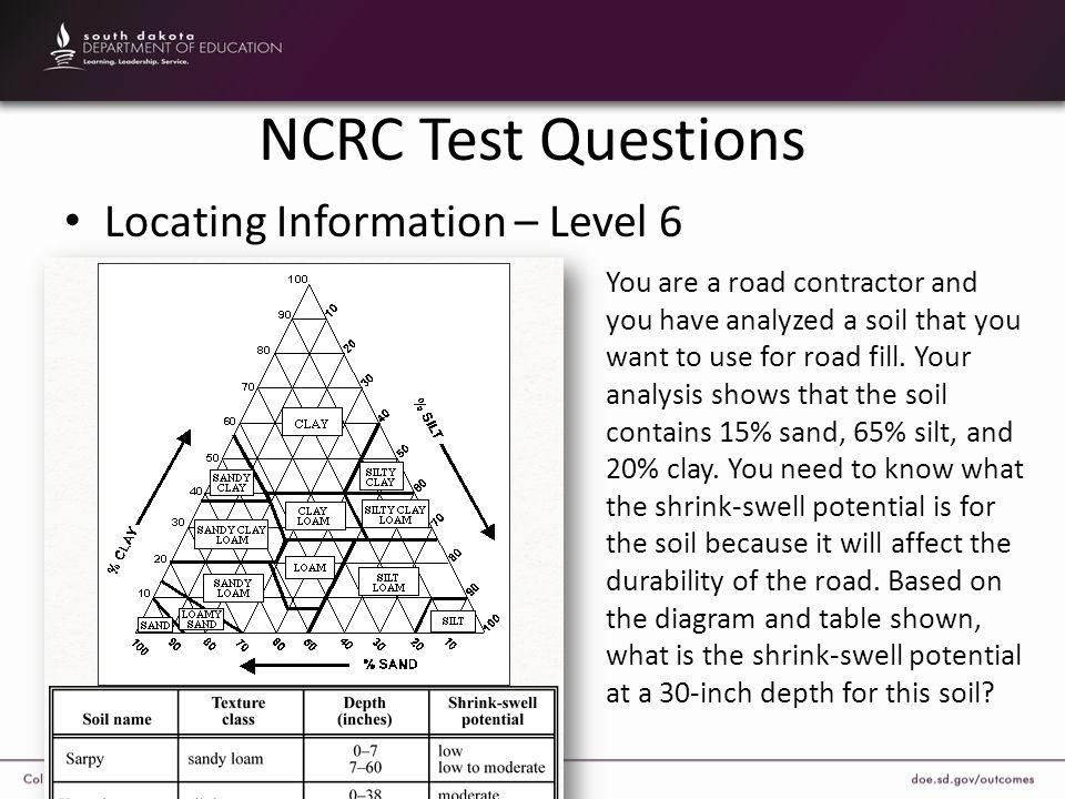 NCRC Test Questions Locating Information – Level 6 You are a road contractor and you have analyzed a soil that you want to use for road fill. Your ana