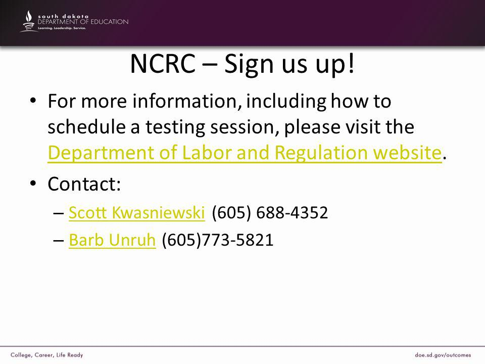 NCRC – Sign us up.