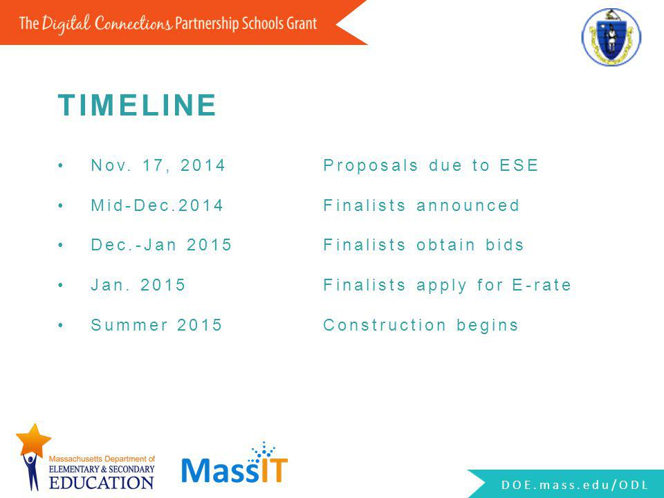 Nov. 17, 2014Proposals due to ESE Mid-Dec.2014Finalists announced Dec.-Jan 2015Finalists obtain bids Jan. 2015Finalists apply for E-rate Summer 2015Co