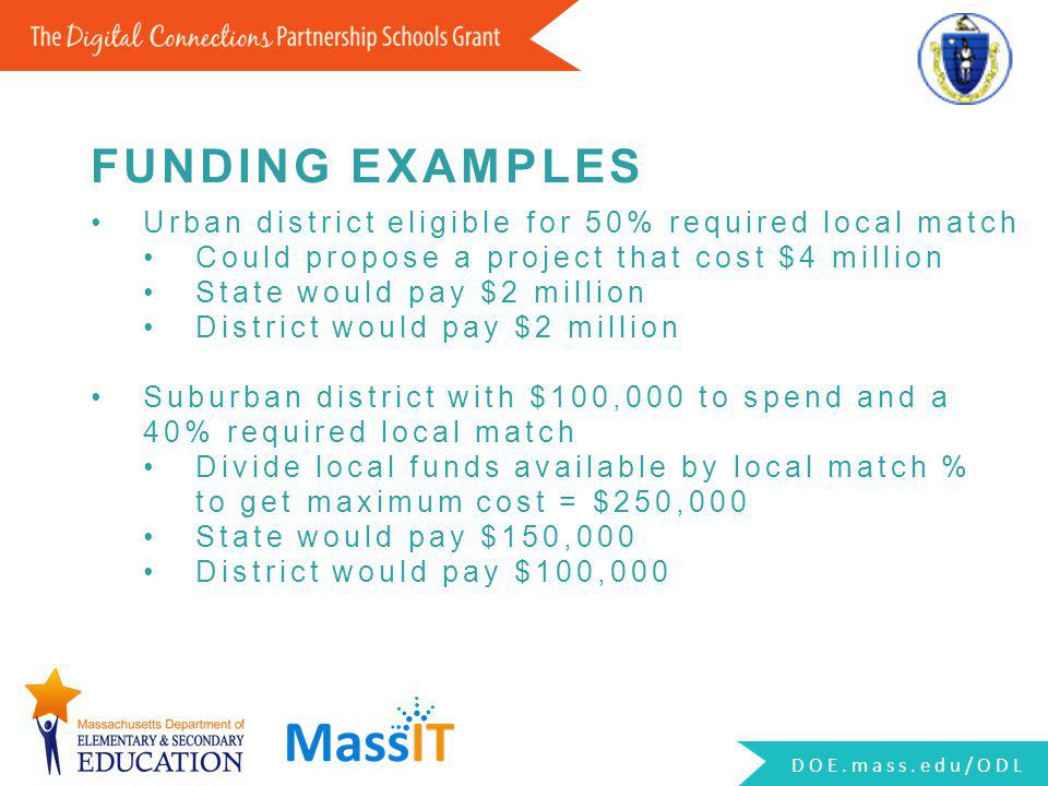 Urban district eligible for 50% required local match Could propose a project that cost $4 million State would pay $2 million District would pay $2 mil