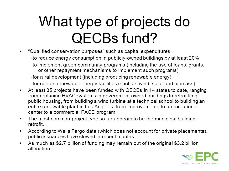 What type of projects do QECBs fund.