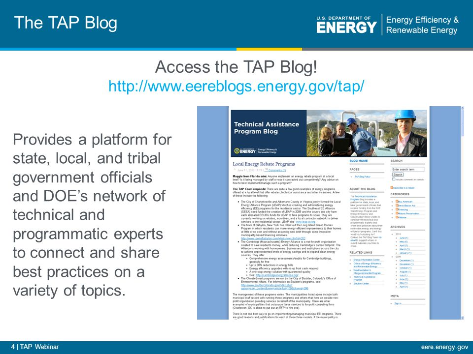 75 | TAP Webinareere.energy.gov Upcoming Webinars Title: Developing an Evaluation, Measurement, and Verification Plan: Residential Retrofits Host: Julie Michals, Northeast Energy Efficiency Partnerships Date: March 29, 2011 Time: 2:00-3:00 EDT Title: Basic Benchmarking: Benchmarking Your Building's Energy Use Using ENERGY STAR's Portfolio Manager Host: Peter Flippen, ICF International Date: March 30, 2011 Time: 12:00-1:30 EDT For the most up-to-date information and registration links, please visit the Solution Center webcast page at www.wip.energy.gov/solutioncenter/webcastswww.wip.energy.gov/solutioncenter/webcasts Please join us again: