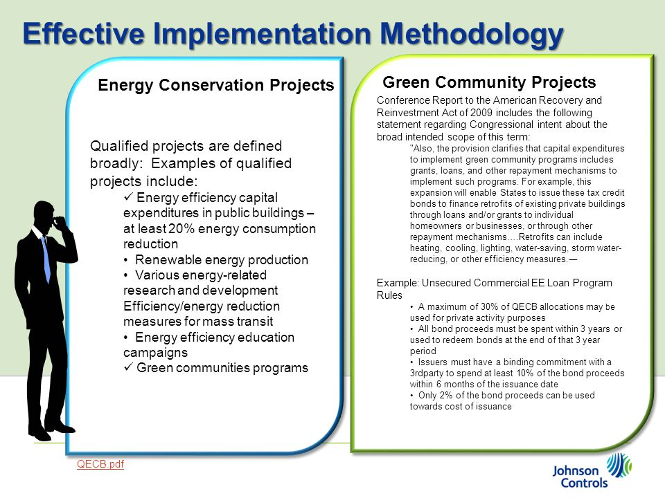 Qualified projects are defined broadly: Examples of qualified projects include: Energy efficiency capital expenditures in public buildings – at least 20% energy consumption reduction Renewable energy production Various energy-related research and development Efficiency/energy reduction measures for mass transit Energy efficiency education campaigns Green communities programs Qualified projects are defined broadly: Examples of qualified projects include: Energy efficiency capital expenditures in public buildings – at least 20% energy consumption reduction Renewable energy production Various energy-related research and development Efficiency/energy reduction measures for mass transit Energy efficiency education campaigns Green communities programs Conference Report to the American Recovery and Reinvestment Act of 2009 includes the following statement regarding Congressional intent about the broad intended scope of this term: Also, the provision clarifies that capital expenditures to implement green community programs includes grants, loans, and other repayment mechanisms to implement such programs.