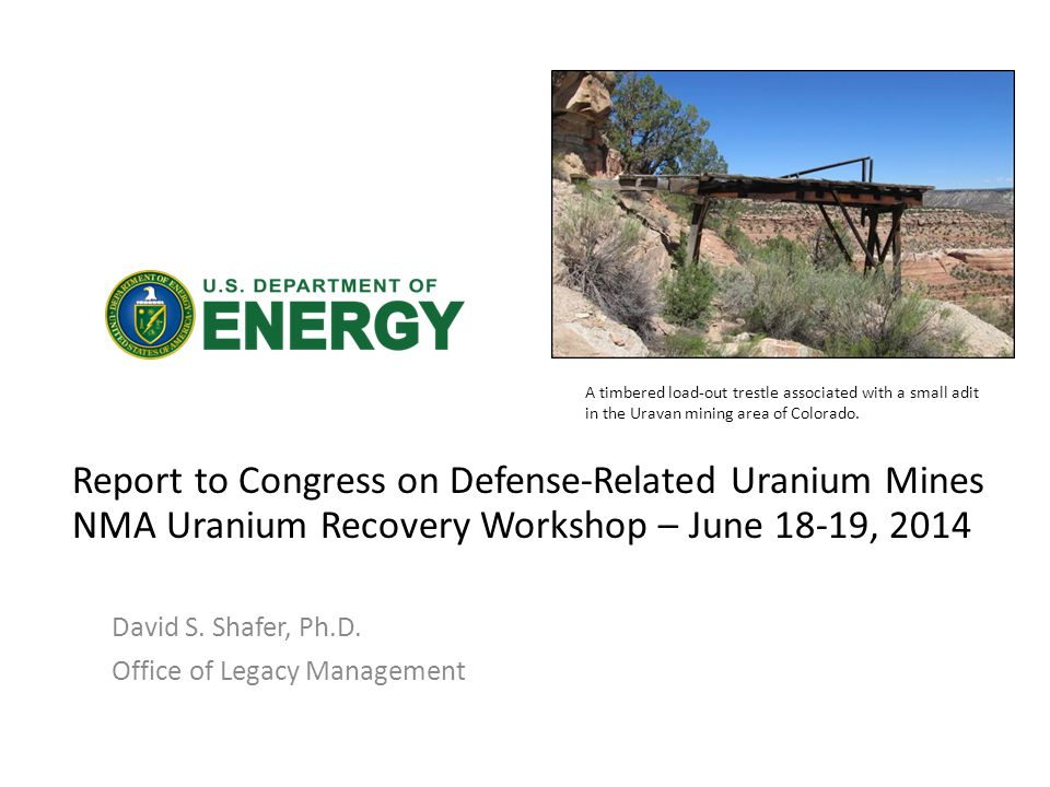 Report to Congress on Defense-Related Uranium Mines NMA Uranium Recovery Workshop – June 18-19, 2014 David S.