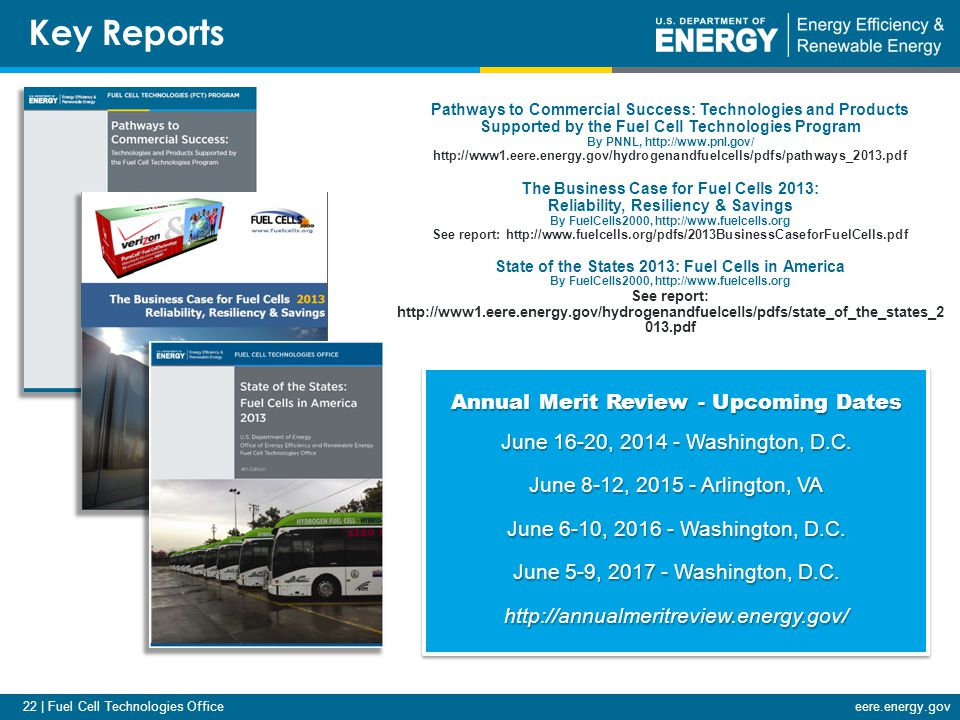 22 | Fuel Cell Technologies Officeeere.energy.gov Annual Merit Review - Upcoming Dates June 16-20, 2014 - Washington, D.C.