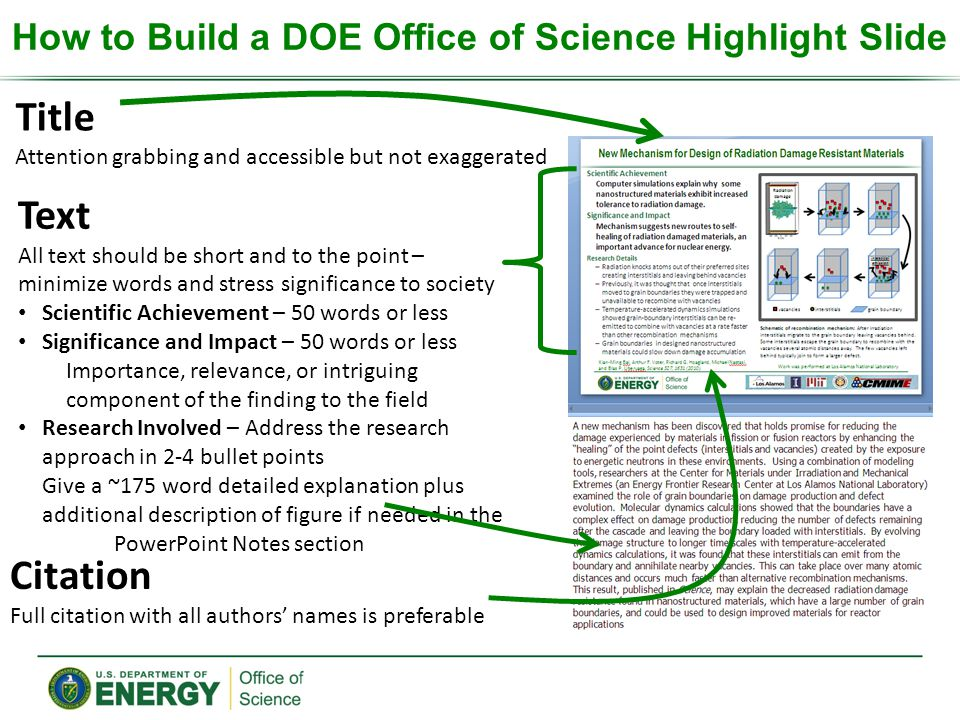 How to Build a DOE Office of Science Highlight Slide Title Attention grabbing and accessible but not exaggerated Text All text should be short and to