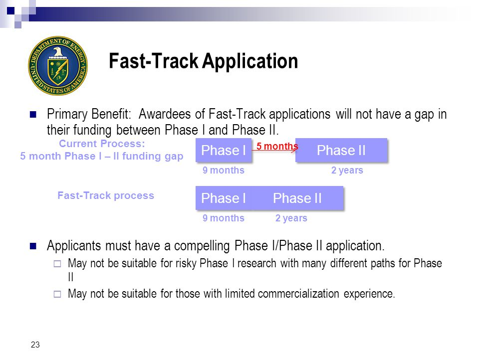 Fast-Track Application Primary Benefit: Awardees of Fast-Track applications will not have a gap in their funding between Phase I and Phase II.