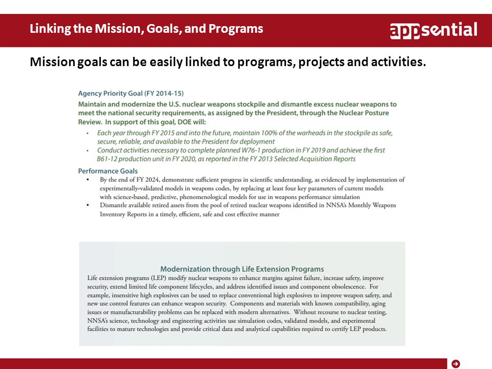 Linking the Mission, Goals, and Programs Mission goals can be easily linked to programs, projects and activities.