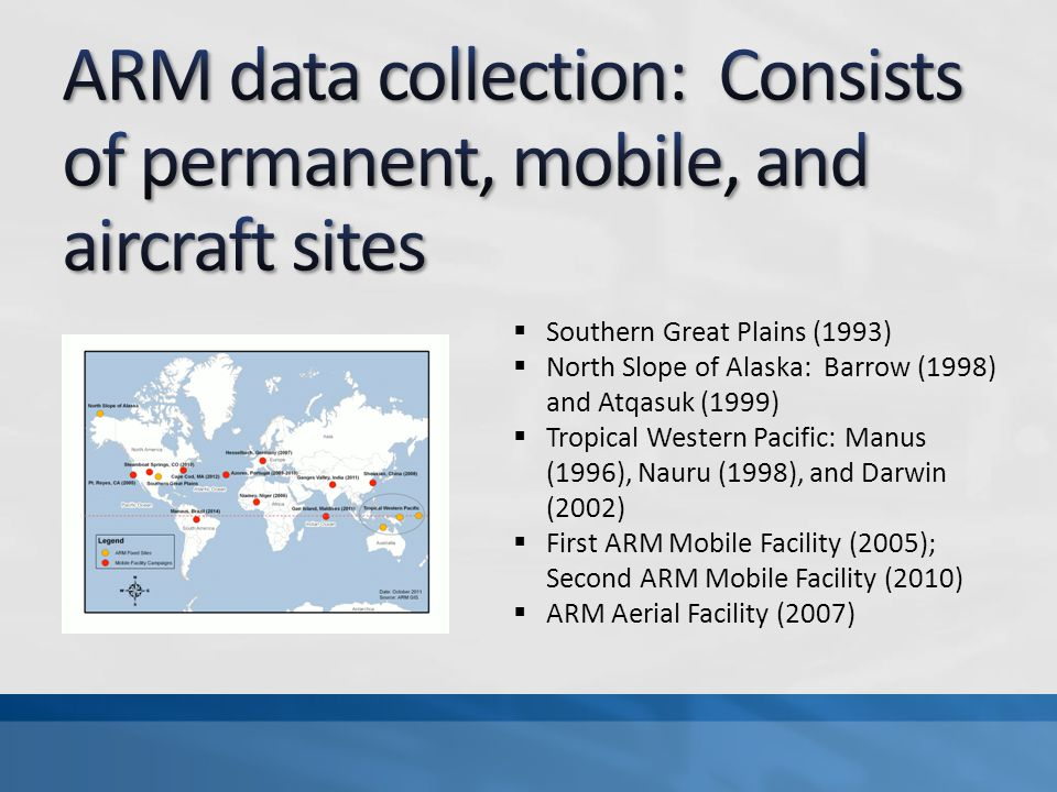  Southern Great Plains (1993)  North Slope of Alaska: Barrow (1998) and Atqasuk (1999)  Tropical Western Pacific: Manus (1996), Nauru (1998), and Darwin (2002)  First ARM Mobile Facility (2005); Second ARM Mobile Facility (2010)  ARM Aerial Facility (2007)