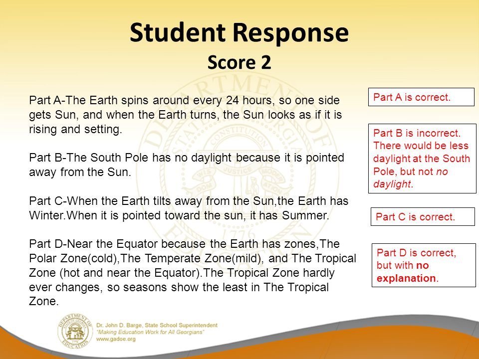 Student Response Score 2 Part A is correct. Part B is incorrect.