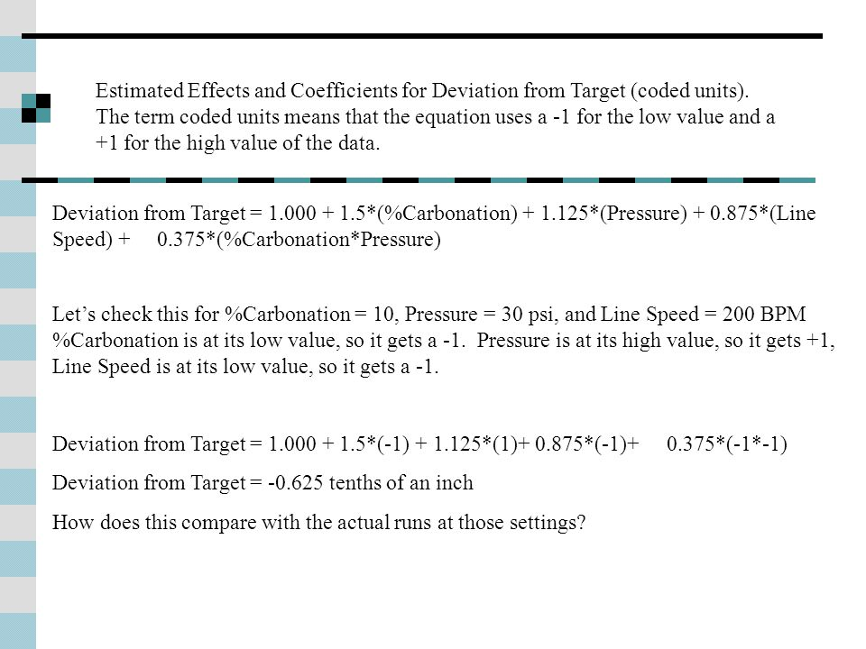 Estimated Effects and Coefficients for Deviation from Target (coded units).