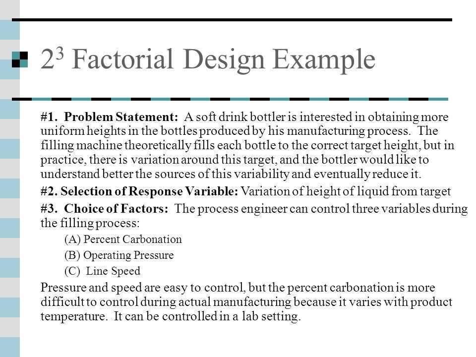 2 3 Factorial Design Example #1.