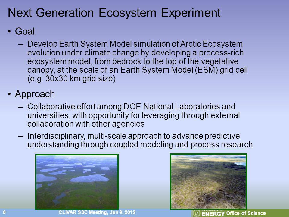 8CLIVAR SSC Meeting, Jan 9, 2012 Office of Science Next Generation Ecosystem Experiment Goal –Develop Earth System Model simulation of Arctic Ecosystem evolution under climate change by developing a process-rich ecosystem model, from bedrock to the top of the vegetative canopy, at the scale of an Earth System Model (ESM) grid cell (e.g.
