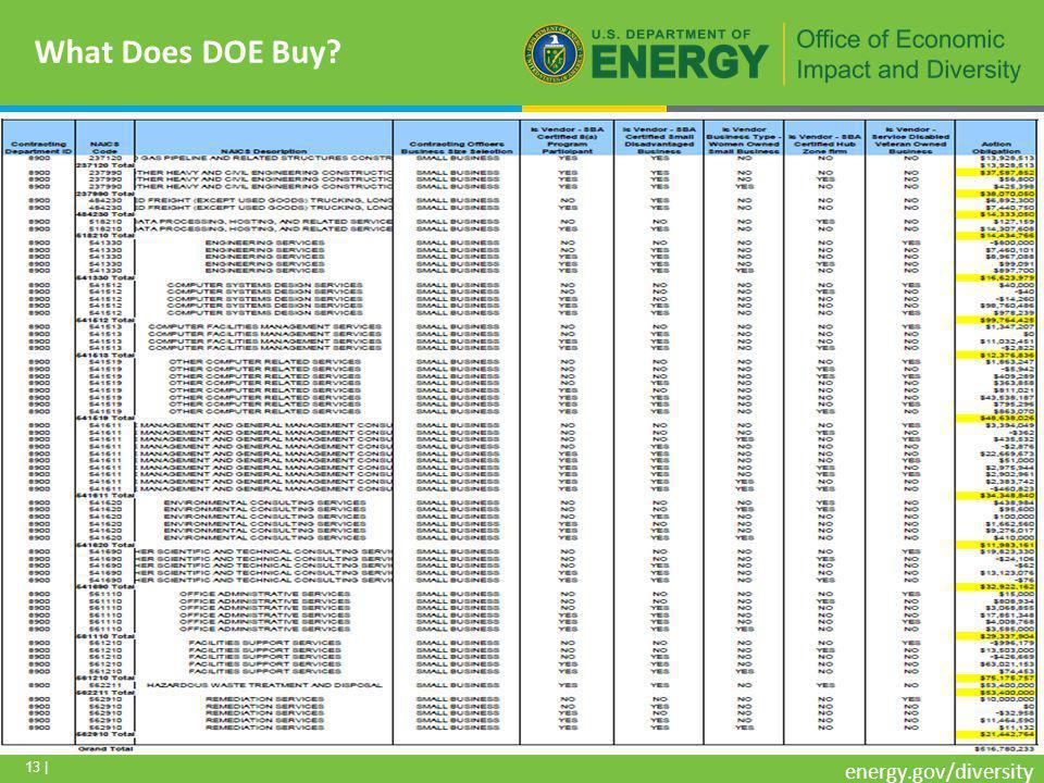 13 | energy.gov/diversity What Does DOE Buy