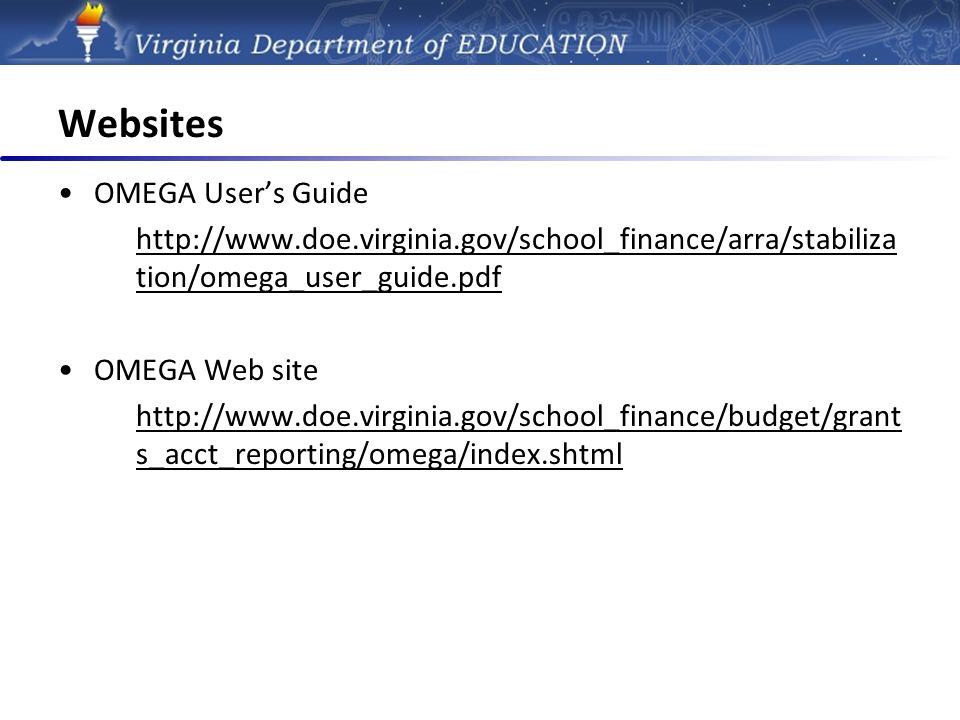 Finance - OMEGA Online Management of Education Grant Awards DOE online system for grant reimbursements.