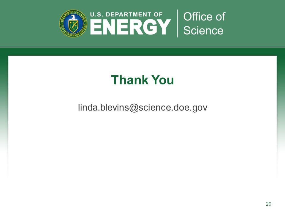 20 linda.blevins@science.doe.gov Thank You
