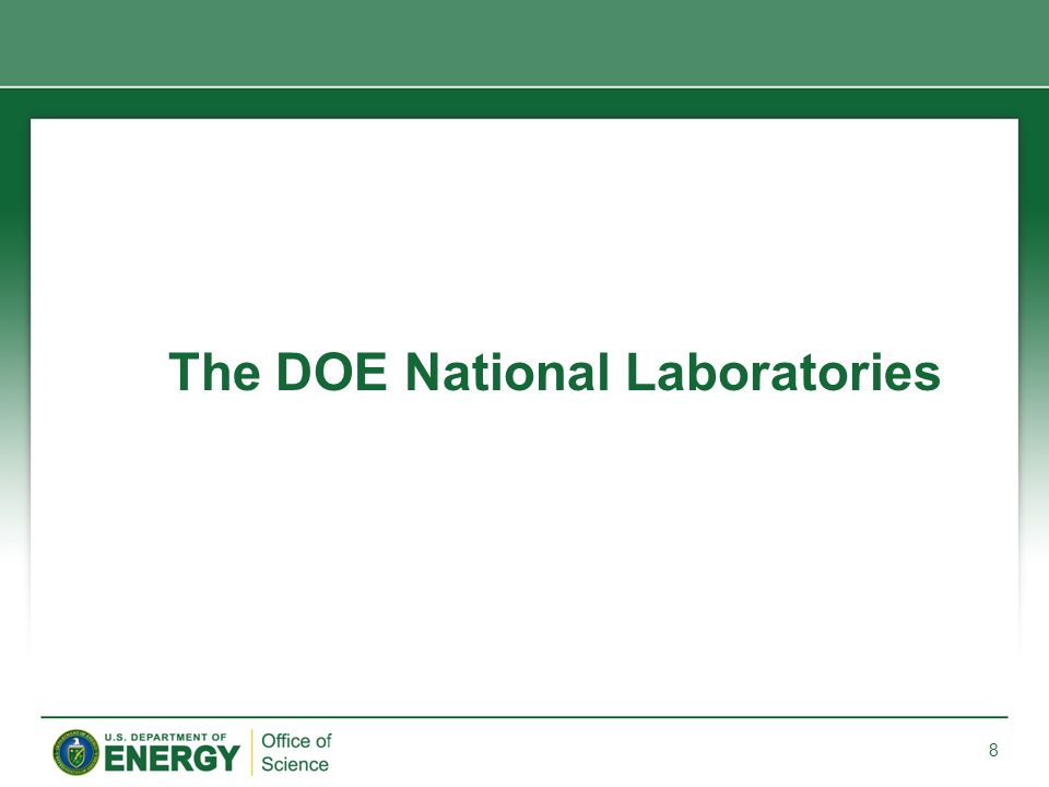 The DOE National Laboratories 8