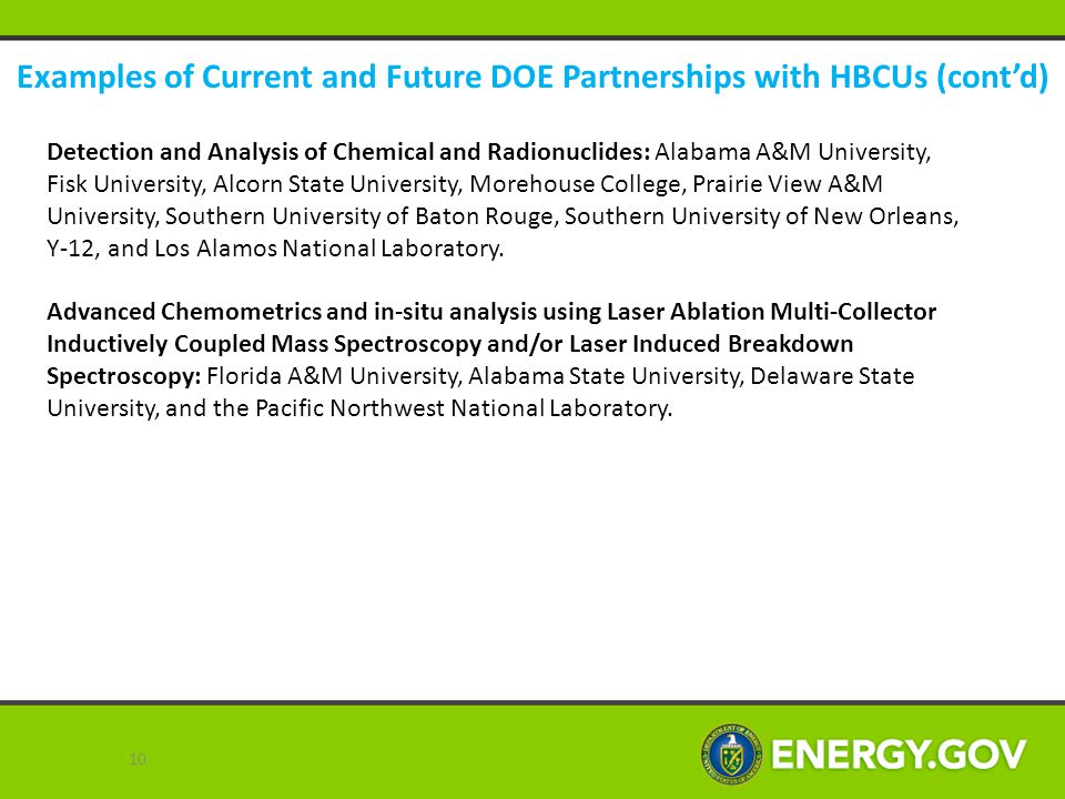 Examples of Current and Future DOE Partnerships with HBCUs (cont'd) Detection and Analysis of Chemical and Radionuclides: Alabama A&M University, Fisk