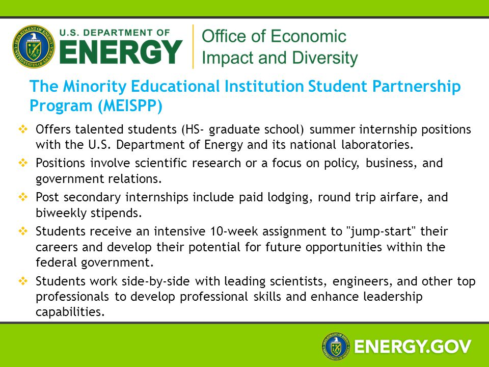  Offers talented students (HS- graduate school) summer internship positions with the U.S. Department of Energy and its national laboratories.  Posit