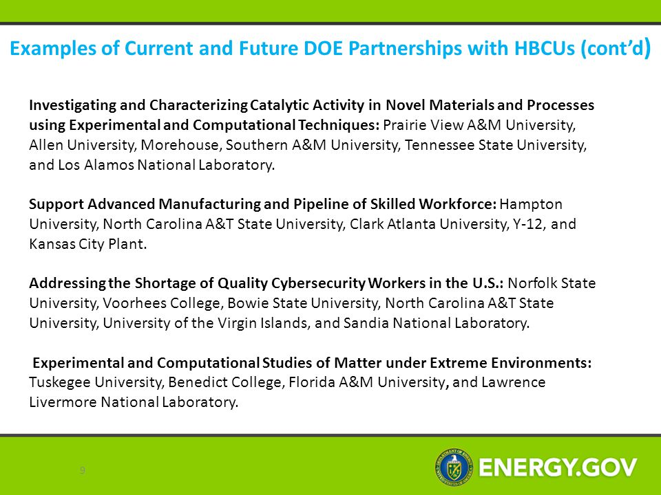 Examples of Current and Future DOE Partnerships with HBCUs (cont'd) Detection and Analysis of Chemical and Radionuclides: Alabama A&M University, Fisk University, Alcorn State University, Morehouse College, Prairie View A&M University, Southern University of Baton Rouge, Southern University of New Orleans, Y-12, and Los Alamos National Laboratory.