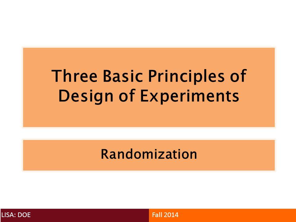 Three Basic Principles of Design of Experiments LISA: DOEFall 2014 Randomization