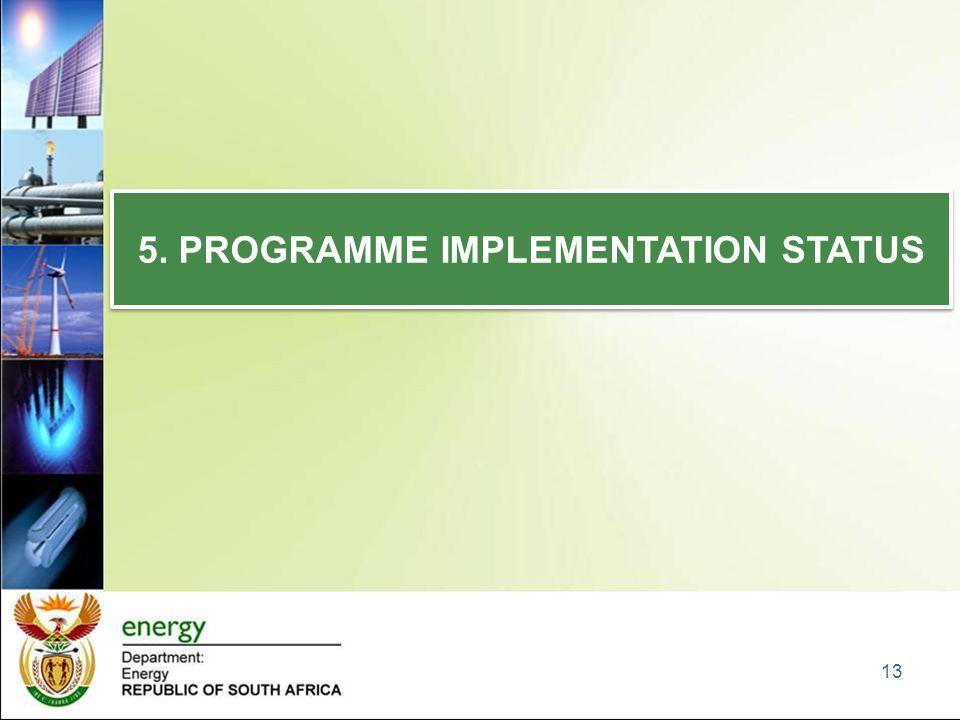 5. PROGRAMME IMPLEMENTATION STATUS 13